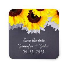 Chalkboard sunflower wedding tags sunflwr2 square sticker
