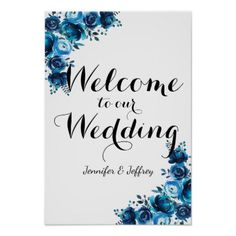 #Rustic Blue Floral Country Barn Wedding Sign - #country #wedding #celebration #beautiful