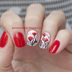 Abstract poppies nail art by Passionorkinda