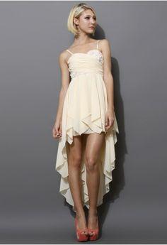Cream 3D Flower Asymmetric Waterfall Prom Dress