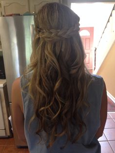 prom hair half up half down with a braid