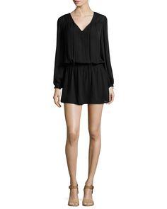 Haute Hippie Cinched-Waist Silk Mini Dress, Black, Women's, Size: L