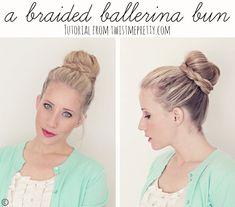 A Braided Ballerina Bun Tutorial #hair #hairstyles   Twist Me Pretty