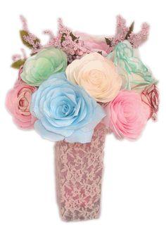 Pastel floral centerpiece, Lace wedding decor, Romantic floral decor, bridal shower decor, baby shower decor, Fake floral decor, home decor - pinned by pin4etsy.com