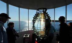 Inside the lighthouse in Owls Head, Maine. We have had the privilege of visiting here, just last summer! The view really does go on and on!
