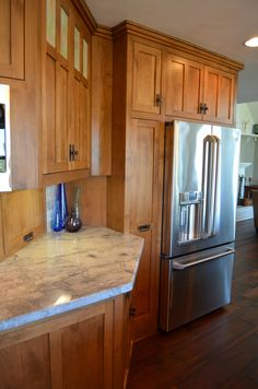 Alternate View Of Kitchen Honey Oak Cabinets Slate Tile