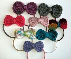 Set of 3 Bow embellished hair ties - FREE SHIPPING
