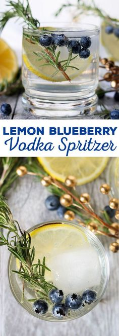 This lemon blueberry vodka spritzer is perfect for holiday parties, weekend brunches or girl's nights. If you are searching for a signature drink, your search is over thanks to this easy cocktail recipe! | #SparklingHolidays #ad @dasaniwater::