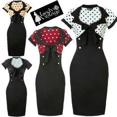 Lady Vintage NEW 50s Chic Retro Pencil Black Polka Dot Wiggle Dress Size 8-20