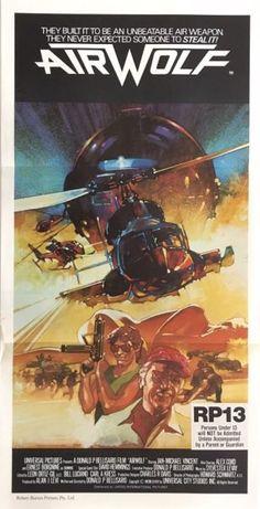 AIRWOLF Aust daybill Jan-Michael Vincent, Borgnine, Alex Cord, Vaughn art of helicopter! Movie Poster Art, Film Posters, Vintage Movies, Vintage Posters, Ernest Borgnine, Sci Fi Tv Series, Film Movie, 1984 Movie, Tecno