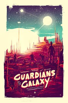 Guardians of the Galaxy - Illustration - Illustrated poster, Marvell, Retro, Gritty, Blue, Orange, Red, Purple