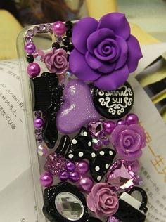 Great Purple Resin Flower Flatback Scrapbooking DIY Phone Case Deco Den Kit | eBay