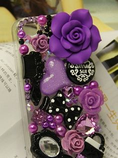 Great Purple Resin Flower Flatback Scrapbooking DIY Phone Case Deco Den Kit | eBay