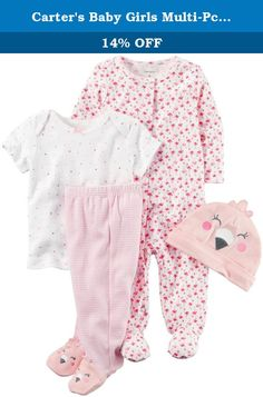 Carter's Baby Girls Multi-Pc Sets 126g582, Pink, Newborn Baby. Carter's Flamingo Layette Set - Pink Carters is the leading brand of children's clothing, gifts and accessories in America, selling more than 10 products for every child born in the U.S. Our designs are based on a heritage of quality and innovation that has earned us the trust of generations of families. Features: 4-Piece set. Nickel-free snaps on reinforced panel. Expandable shoulders. Covered elastic waistband Cotton is soft...