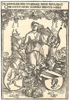 Albrecht Dürer -Das Wappen der Scheurl und Tucher Datum etwa 1512 Technik Woodcut Maße 29.8 × 20.4 cm Momentaner Standort  Print from the ducal collection of Waldburg-Wolfegg Bemerkungen  HIC SCHEVRLINA SIMVL TVCHERINAQℨ SIGNA REFULGENT QVAE DOCTOR GEMINI SCHEVERLE PARENTIS HABET Latina: Hic Scherlina simul Tucherinaq[eu] signa refulgent, quae Doctor gemini Scheuerle parentis habet. Deutsch: Hier scheint das Scheurl'sche wie auch Tucher'sche Zeichen, welche der zweifache Doktor [des…