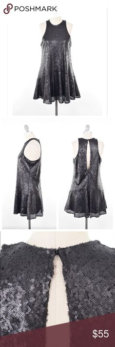 """Free Ppl sequin little black party dress The sweetest little black party dress around! Jewel neckline with slightly cut-in shoulders and large keyhole back. Slightly fitted in the bust with a trapeze silhouette and flow-y, mini-length skirt. Fully sequined black polyester fabric that drapes well. Fully lined.  Bust: 36"""" Length from Shoulder: 32"""" Free People Dresses Mini"""