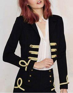 Vintage Long Sleeve Laciness Embellished Blazer For Women