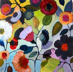 Original Abstract Painting  Summer Garden  Floral by TwigAndPetal, $95.00