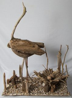 Driftwood Heron with nest.