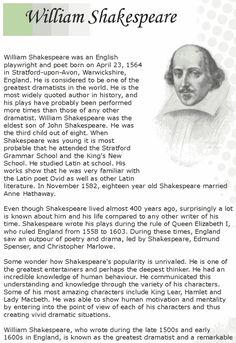 Grade 7 Reading Lesson 12 Biographies Shakespeare 1