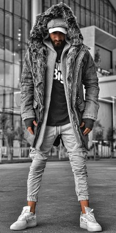 Casual Gray Faux Fur Hooded Long Sleeves Jacket Men's casual and comfy jackets for fall and winter, fashion style and comfortable material you will love it, 2019 winter fashion trends, free ship Stylish Men Over 50, Mode Punk, Stylish Mens Outfits, Winter Mode, Jacket Style, Jacket Men, Gray Jacket, Mens Clothing Styles, Winter Fashion