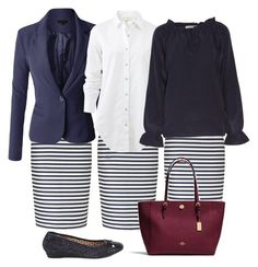 Navy and white stripes outfit.  Modest   Church   Work by rebecca-lamoureux-shops on Polyvore featuring polyvore, fashion, style, W118 by Walter Baker, rag & bone, LE3NO, Söfft, Coach and clothing