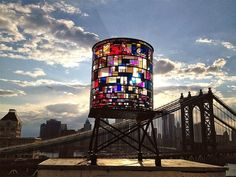 stained glass water tower... - (brooklyn)(bridge)