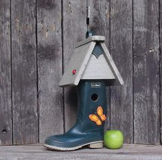 Boot Birdhouse L L Bean Rubber Boot One of a Kind by Milepost7