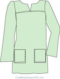 """túnica con canesú y bolsillos de parche-Un yugo del hombro es más que un detalle de estilo - es también una manera de """"esconder"""" un dardo busto! Usted puede agregar estilo a su vestido o superior sin un dardo lado, y todavía mantiene buen ajuste."""
