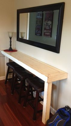 Dad Built This: Farmhouse Snack Bar – Buffet. So nice for a small area! – coffee stations at home small spaces Hm Deco, Pool Table Room, Pool Tables, Breakfast Bar Kitchen, Breakfast Bars, Breakfast Buffet, Breakfast Nooks, Sweet Home, Snack Bar