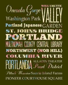 Portland, Oregon, Typography Poster/Bus/ SubwayRollArt 1620-Floral Series Portland's Attractions Wall Art Decoration-LHA-177-C02. $42.95, via Etsy.