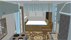 "Queen Version, view into the 7x7.5 living room and ""bedroom"" a queen bed with flat screen and storage space above the bed."