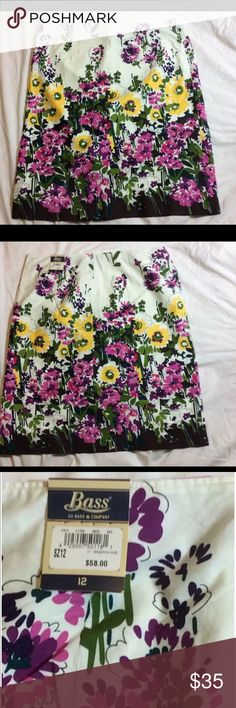 """GH Bass & Company ALine Skirt Floral Cotton 12 NWT New with tag. Pretty floral A-Line skirt. Approximately 24 1/4"""".  100% cotton. GH Bass & Company Skirts A-Line or Full"""