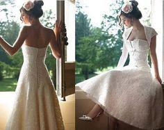 Vintage Short Borelo Floor Length lace Bridal Gown Bride Wedding Dress custom