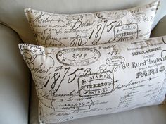 French Script  Lumbar pillows PAIR 12x16 by yiayias on Etsy, $50.00