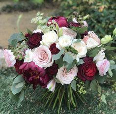 burgundy and blush bouquet Magenta Wedding, Burgundy And Blush Wedding, Burgundy Bouquet, Blush Bouquet, Burgundy Flowers, Blush Flowers, Floral Wedding, Yellow Flowers, November Wedding Flowers