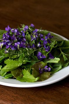 Violet salad...gonna eat some violets next spring on my salads!! They are highly nutritious. (Ethan always told me that:) and they look beautiful on salads.