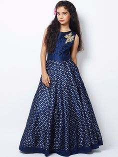 Shop Exclusive navy silk party wear gown online from India. Gowns For Girls, Little Girl Dresses, Girls Dresses, Frock Fashion, Fashion Dresses, Kids Fashion, Classy Fashion, Party Fashion, Party Wear Gowns Online