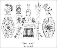 Soldier uniform - Roman shields and other armour for battle.  (Website On Roman Battle Dress)