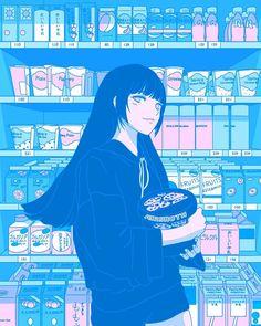 Tokyo GF w/ Yumeko Jabami - Shibuya Shopping Art Print by Aris Roth - X-Small Arte Do Kawaii, Kawaii Art, Blue Aesthetic, Aesthetic Anime, Character Art, Character Design, Bakugou Manga, 8bit Art, Blue Anime