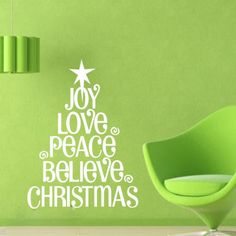 Words Christmas Tree -Art Vinyl DIY wall sticker decal decor quote lettering gift home shop  sc 1 st  Pinterest & DIY Christmas Tree English Merry Removable Wall Stickers Vinyl Wall ...