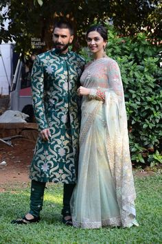 Ranveer Singh and Deepika Padukone at 'Bajirao Mastani' Promotions : Ranveer totally rocked this green Sabyasachi outfit with black eccentric shoes. As for Deepika, she looked beautiful wearing Anju Modi Couture saree with light makeup and. Deepika Ranveer, Ranveer Singh, Deepika Padukone, Bollywood Celebrities, Bollywood Fashion, Indian Celebrities, Bollywood Stars, Bollywood News, Love Is In The Air