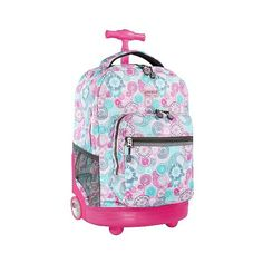 J World Sunrise Rolling Backpack - Blue Raspberry ($54) ❤ liked on Polyvore featuring bags, backpacks, blue raspberry, zipper bag, handle bag, blue backpack, j world backpacks and padded bag