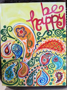 Happy Painted Canvas by PetalsAndBrushes on Etsy Rooker Rooker Guthrie Canvas Crafts, Diy Canvas, Canvas Art, Painted Canvas, Canvas Ideas, Doodles, Wow Art, Crafty Craft, Crafting