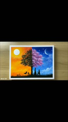 2020 Easy Canvas Painting Ideas For Beginners : Tree canvas painting ideas Simple Canvas Paintings, Easy Canvas Art, Small Canvas Art, Easy Canvas Painting, Mini Canvas Art, Tree Canvas, Canvas Ideas, Drawing On Canvas, Sunset Acrylic Painting