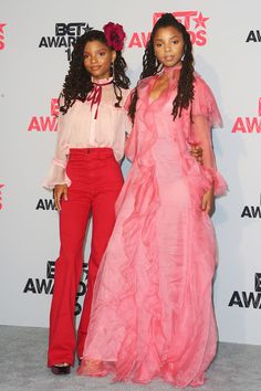 Halle Bailey and Chloe Bailey of Chloe X Halle pose in the press room during the 2016 BET Awards at the Microsoft Theater on June 26, 2016 in Los Angeles.