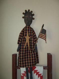 PRIMITIVE RAGGEDY BLACK FOLK ART AMERICANA/PATRIOTIC FLAG MAMMY DOLL #BlackFolkArt