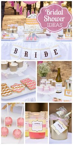 A pink and gold bridal shower with chevron accents in a lovely outdoor setting!  See more party planning ideas at CatchMyParty.com!