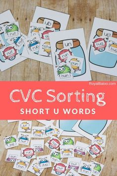 Practice reading with the fun buggy CVC short u word sort! Great work Ed family activity for kids.