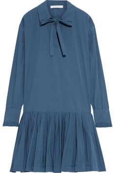 Slate blue Bow-detailed pleated cotton-poplin mini dress | Sale up to 70% off | THE OUTNET | SEE BY CHLOÉ | THE OUTNET Beach Wear Dresses, Spring Dresses, Blue Dresses, Dresses With Sleeves, Clothes For Sale, Dresses For Sale, Dress Sale, Chloe Clothing, See By Chloe